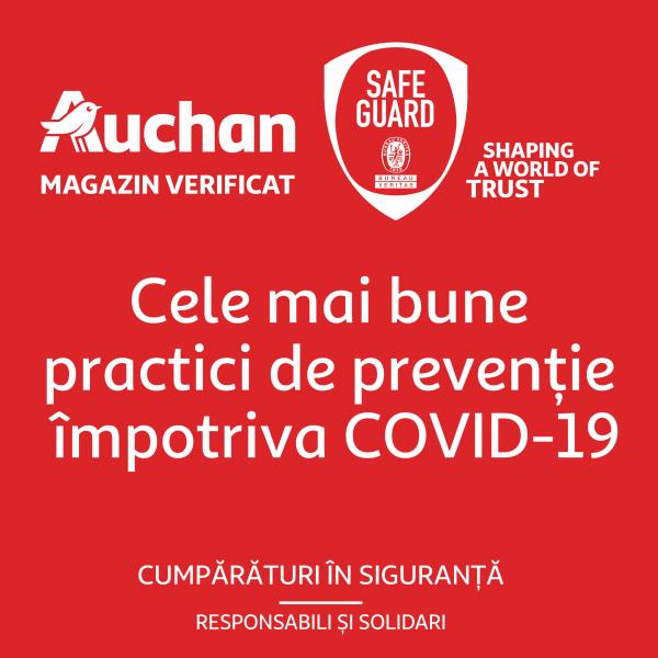 Auchan Retail România obține certificarea Safe Guard pentru implementarea celor mai bune practici de prevenție împotriva Covid-19